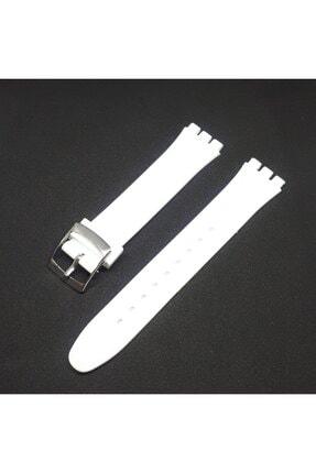 Swatch 17mm Uyumlu Beyaz Slikon Saat Kordonu