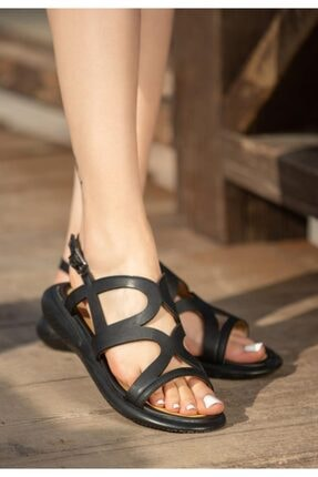 ESPARDİLE Kadın  Siyah Cilt Sandalet
