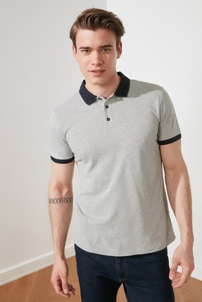 TRENDYOL MAN Gri Erkek Slim Fit Kontrast Detaylı Polo Yaka T-shirt TMNSS20PO0011