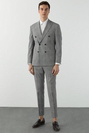 Network Erkek Slim Fit Mavi Kareli Kruvaze Takım Elbise 1078615