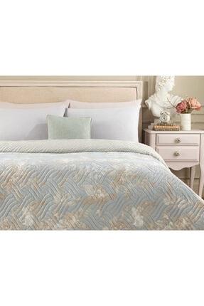 Madame Coco Curtice King Size Baskılı Yatak Örtüsü - Mavi