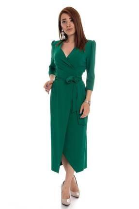 AYHAN Kadın Yeşil Kruvaze Avelop Truvakar Krep Şık Elbise