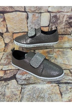 Markopark Kadın Platin Cırtlı Taşlı Ayakkabı
