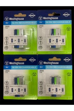 ATAELEKTRONİK 4 Adet Westinghouse 9v 200 Mah Şarj Edilebilir Pil Kare 9 Volt Pil Şarz Edilir