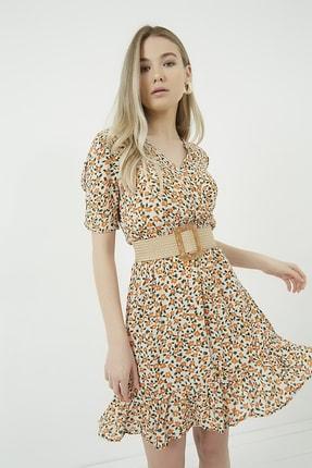 Vis a Vis Kadın Bej-Oranj Beli Lastikli Kol Açık  Kruvaze Elbise STN781KEL122