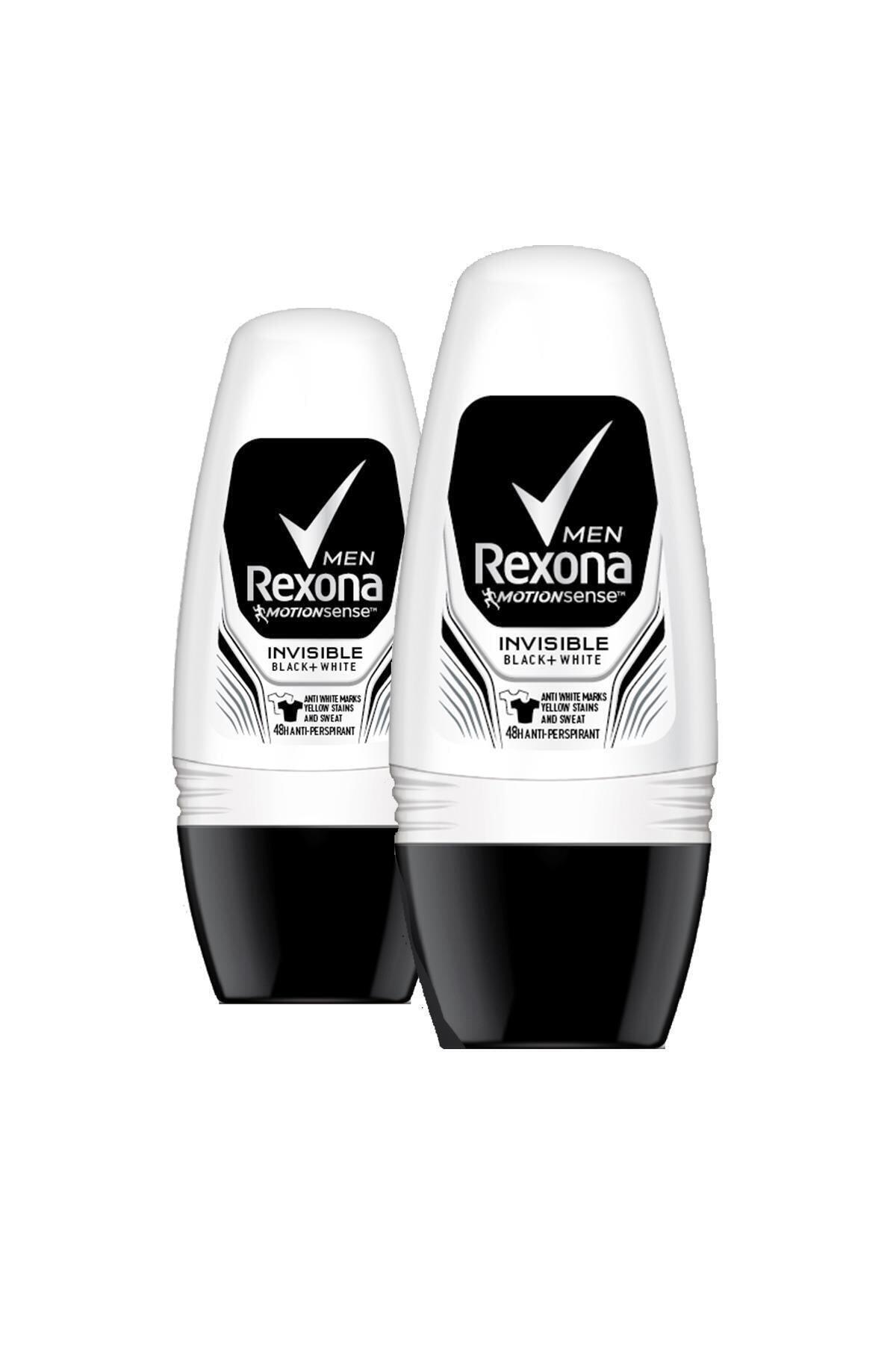 Rexona Erkek Deodorant Roll On Invisible Black White 50 Ml X2 1