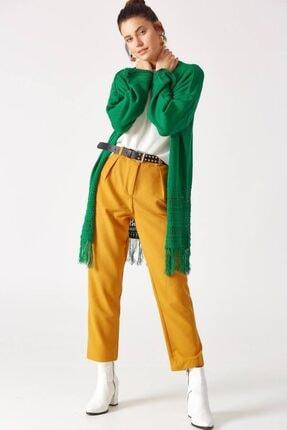 Giyim Dünyası Kadın Yeşil Püsküllü Triko Hırka