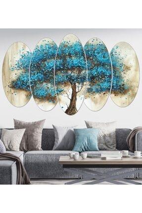 hanhomeart Mavi Ağaç Parça Ahşap Duvar Tablo Seti