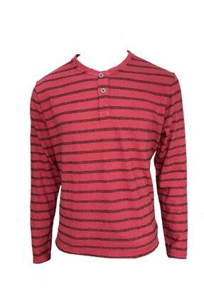 Camp David Erkek Kırmızı Çizgili Triko Kumaş Uzun Kol T-shirt