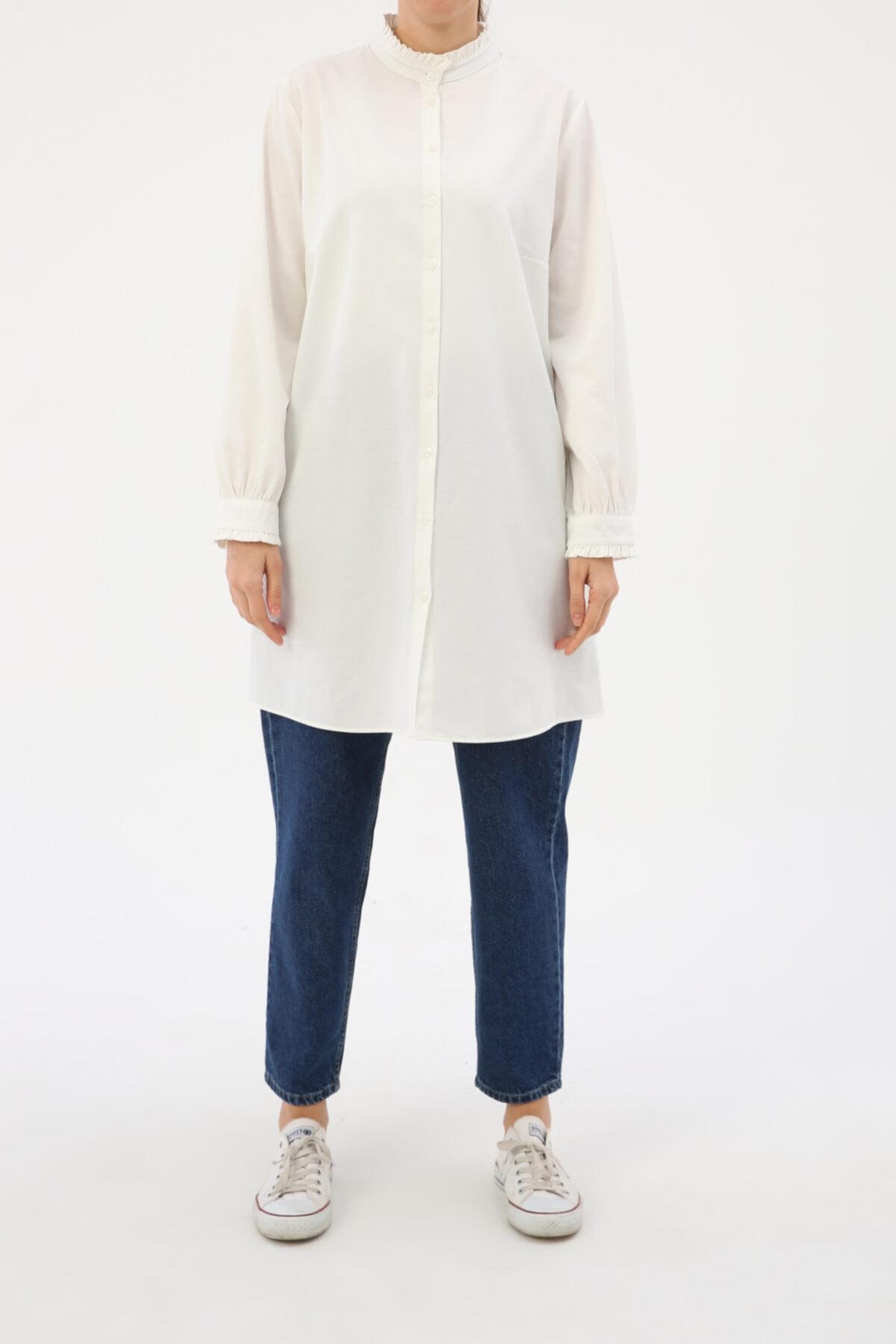 ALLDAY Ekru Yaka Ve Kol Fırfırlı Gömlek Tunik 2