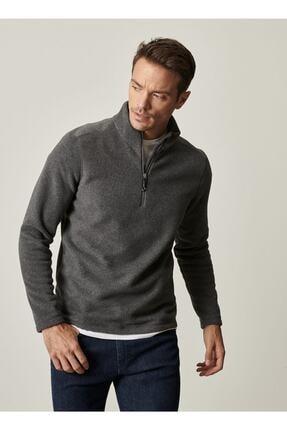 AC&Co / Altınyıldız Classics Erkek Antrasit Standart Fit Günlük Rahat Fermuarlı Bato Yaka Spor Polar Sweatshirt