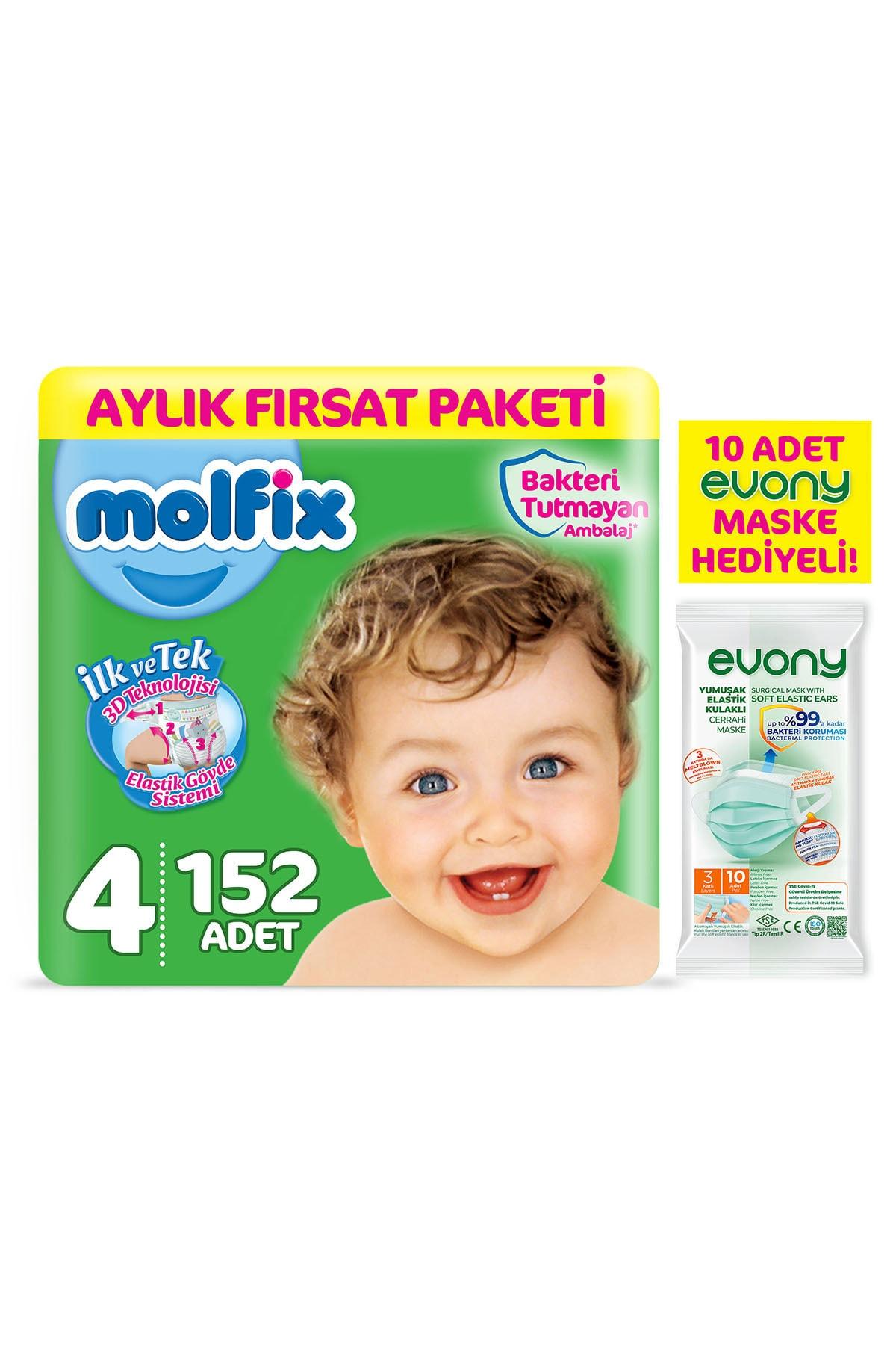 Molfix Bebek Bezi 4 Beden Maxi Aylık Fırsat Paketi 152 Adet + Evony Maske 10'lu Hediyeli 1
