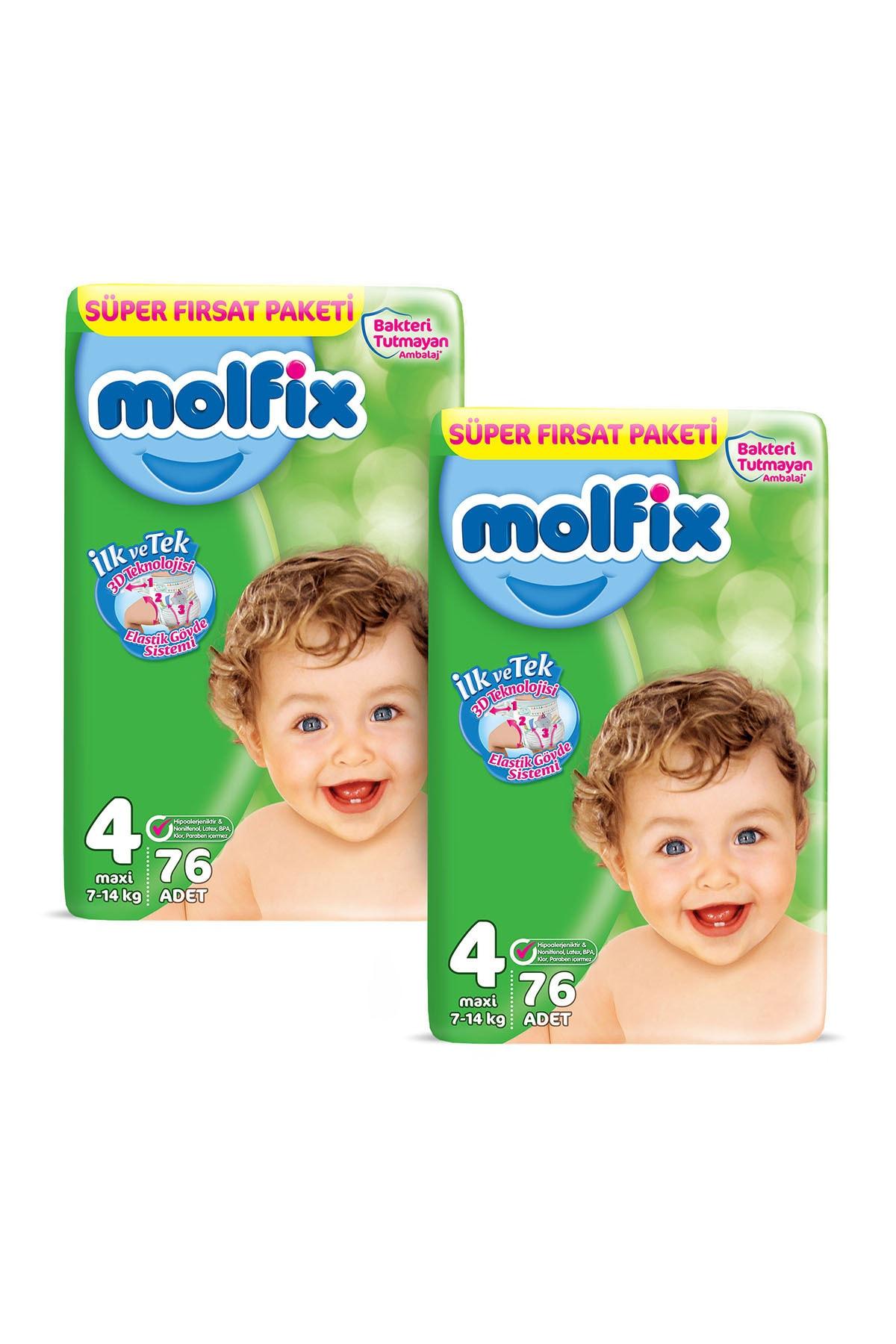 Molfix Bebek Bezi 4 Beden Maxi Aylık Fırsat Paketi 152 Adet + Evony Maske 10'lu Hediyeli 2
