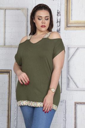 Şans Kadın Haki Omuz Dekolteli Askı Ve Etek Ucu Payet Dantel Detaylı Bluz 65N22701
