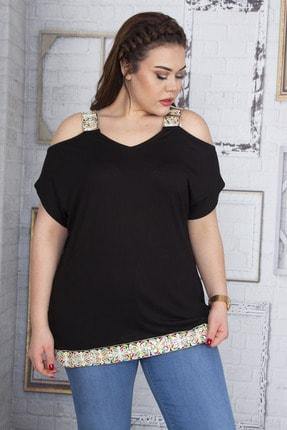 Şans Kadın Siyah Omuz Dekolteli Askı Ve Etek Ucu Payet Dantel Detaylı Bluz 65N22701