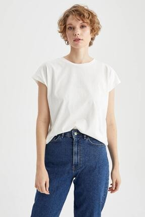 DeFacto Kadın Ekru Basic Düşük Omuzlu Relax Fit Kısa Kollu Tişört