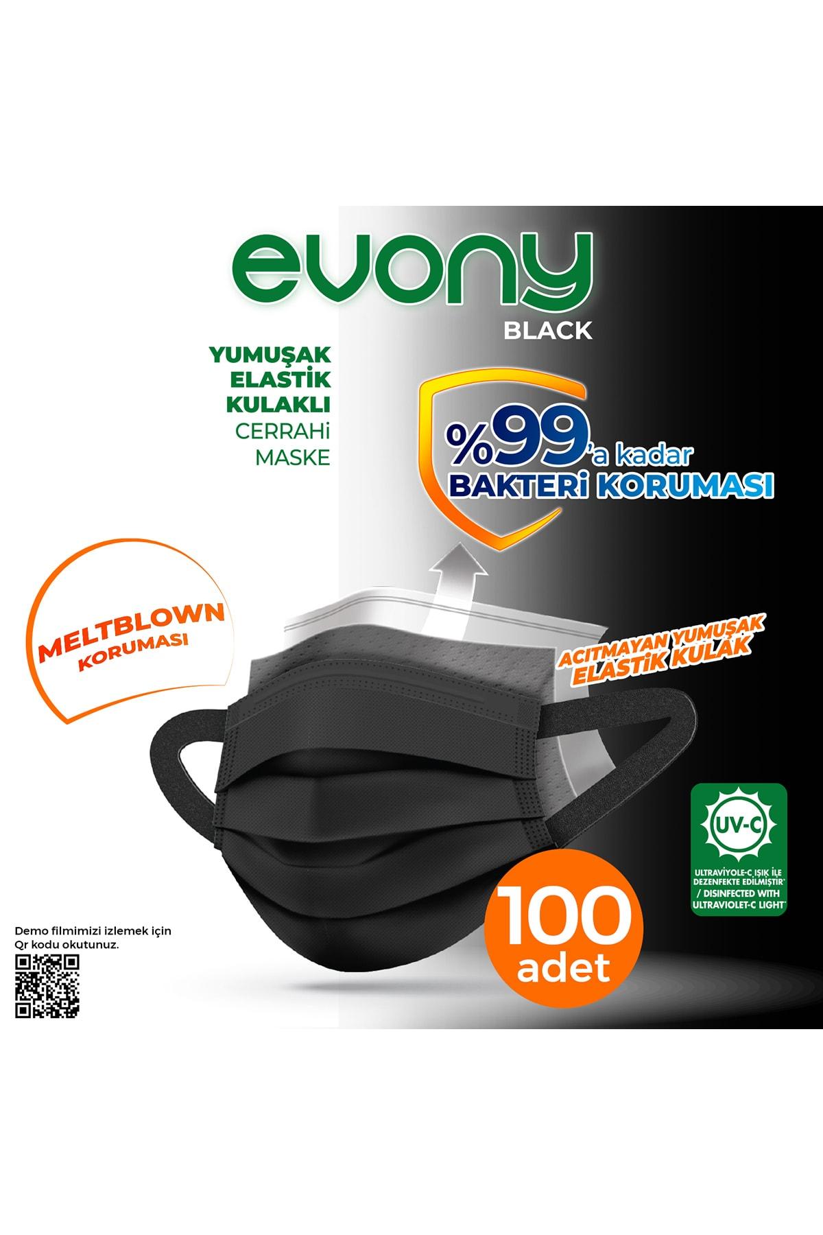 Evony Siyah Elastik Kulaklı Maske 100 Adet 1