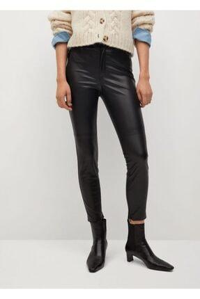 MANGO Woman Kadın Siyah Dar Kesim Suni Deri Pantolon