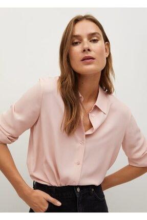 MANGO Woman Kadın Pembe Geri Dönüştürülmüş Polyester Gömlek