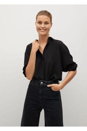 MANGO Woman Kadın Siyah İpek Gömlek