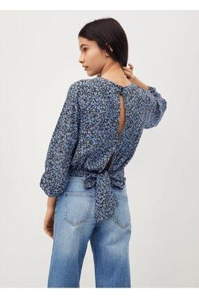 MANGO Kids Kız Çocuk Mavi Fiyonklu Desenli Bluz