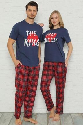 Pijamaevi King Baskılı Sevgili Çift Pijama Takımı Kombini