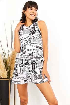Olalook Kadın Gazete Siyah Şortlu Pijama Takımı PJM-00000012