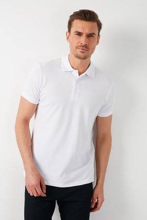 Buratti Erkek Beyaz Pamuklu Polo Yaka T-shirt