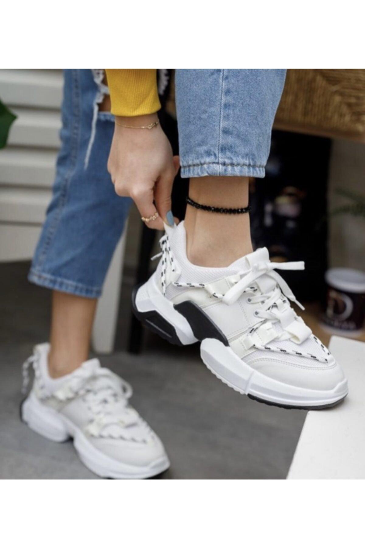 Shoemix Kadın Beyaz Sneaker 1