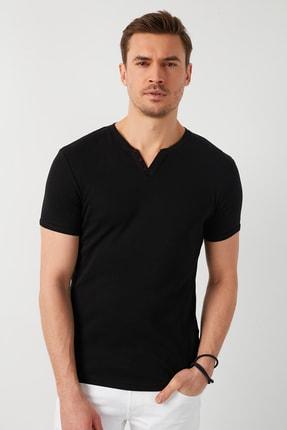 Buratti Erkek Siyah Pamuklu V Yaka T-Shirt