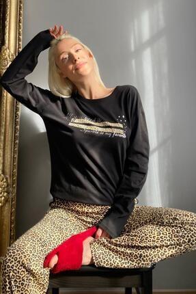 Pijamaevi Kadın Siyah Sparkle Baskılı Uzun Kol Pijama Takımı