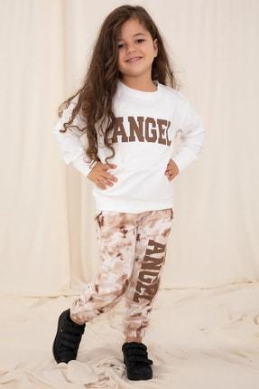 bebboo Kız Çocuk Kahverengi Angel Baskılı Eşofman Takımı  1498