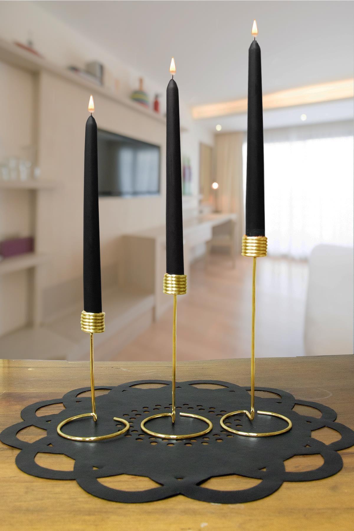 Dekolia 3'lü Metal Şamdan Seti Altın Sarısı Kaplama 2