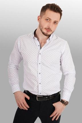 Etikmen Siyah Baklava Desenli Beyaz Gömlek