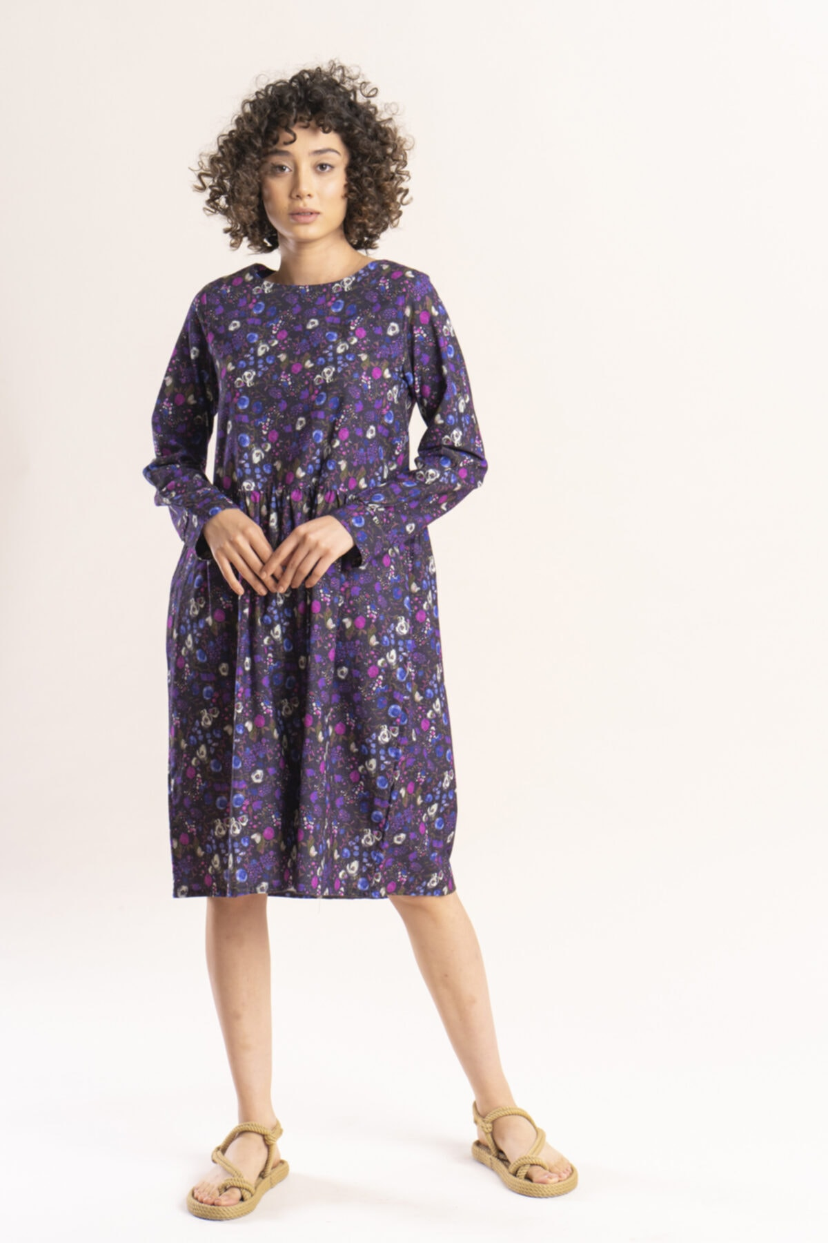 İpekçi Otantik Kadın Mor Otantik Çiçek Desenli Pazen Elbise 1