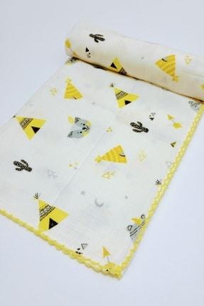 AyCaTa Çok Amaçlı Müslin Bezi Örtü Bebek Battaniyesi Beyaz Sarı Desenli 80x90 Cm 1 Adet