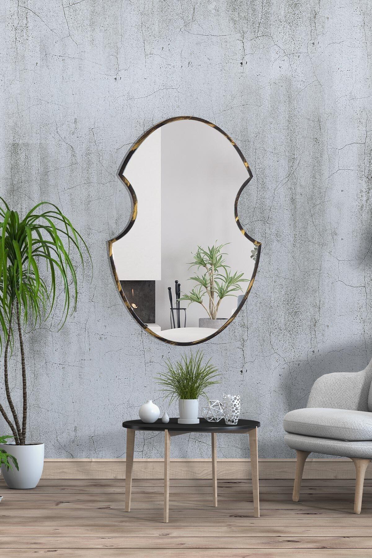 bluecape Shield 73 Cm Siyah Gold Eskitme Hol Koridor Duvar Salon Mutfak Banyo Wc Ofis Çocuk Yatak Odası Ayna 2