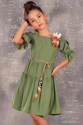 Minik Dolap Kız Çocuk Askılı Yeşil Elbise