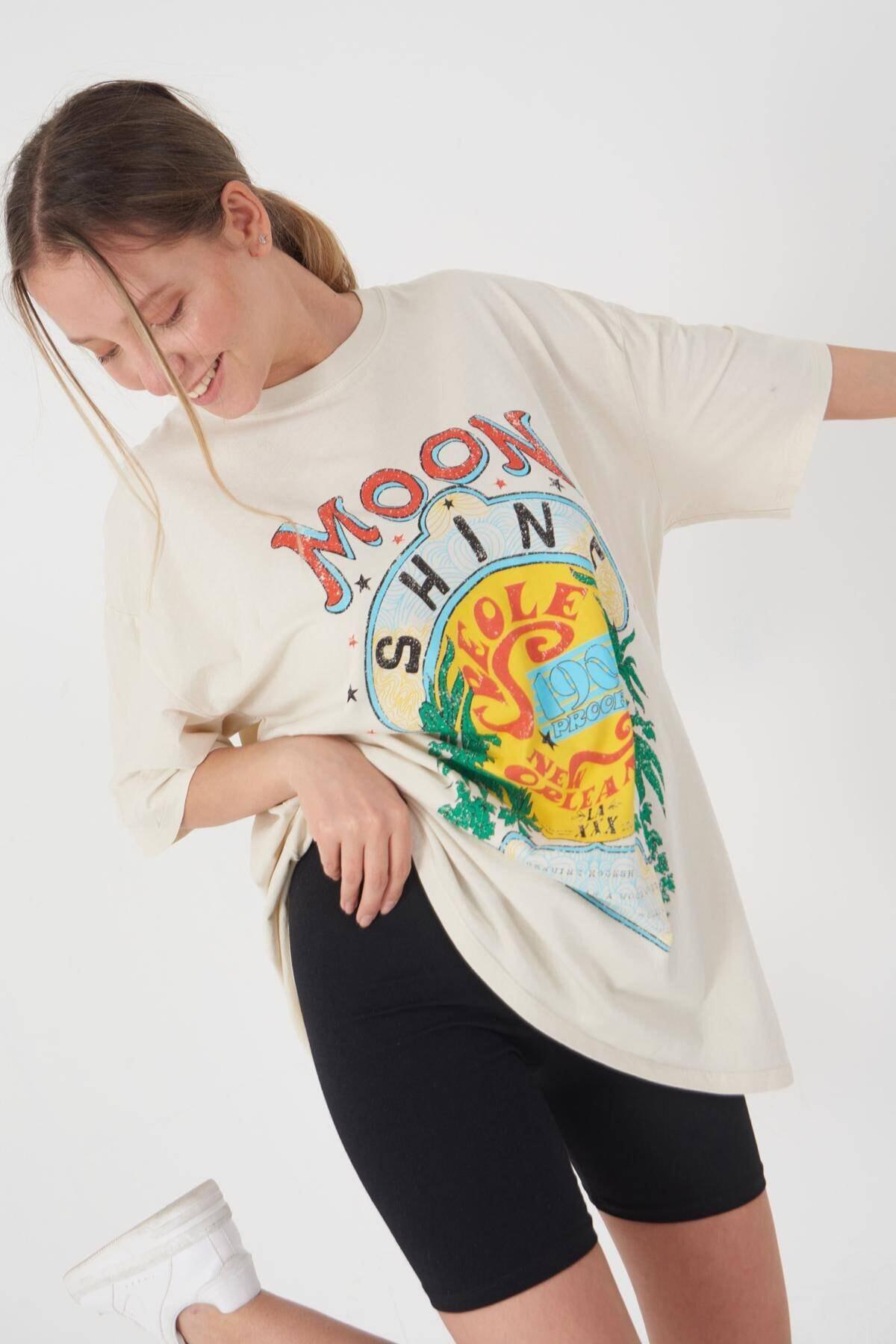 Addax Baskılı T-shirt P9428 - T8 1