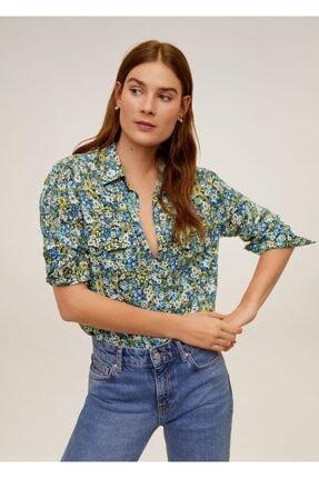 MANGO Woman Kadın Mavi Yama Cepli Gömlek 67090612