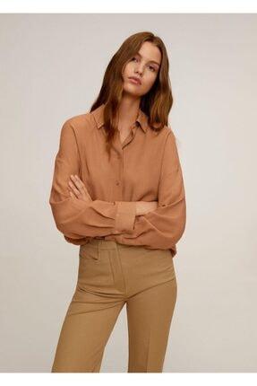 MANGO Woman Kadın Orta Kahverengi Dökümlü Gömlek 67055969