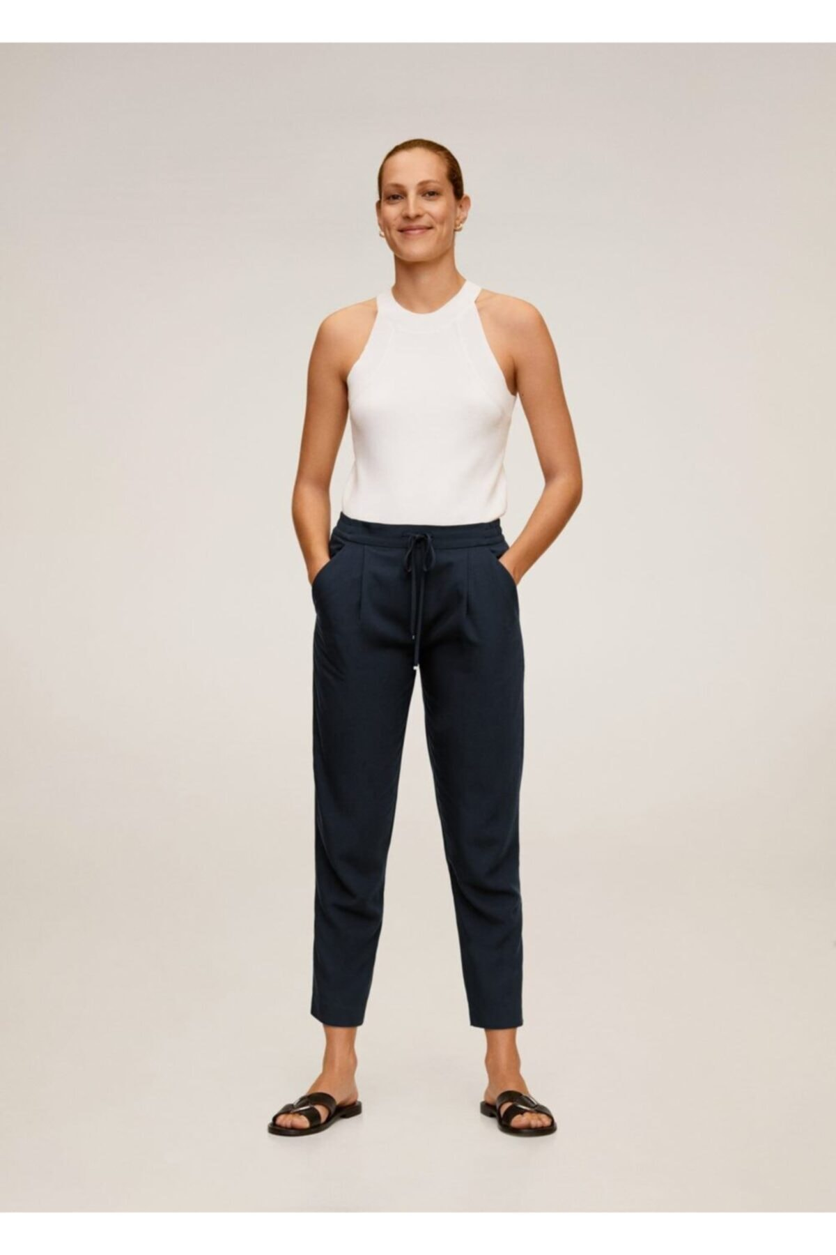MANGO Woman Kadın Lacivert Bağcıklı Takım Pantolon 67056705 2