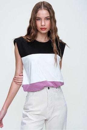 Trend Alaçatı Stili Kadın Lila Vatkalı Üç Bloklu Yumuşak Dokulu Bluz ALC-X5977