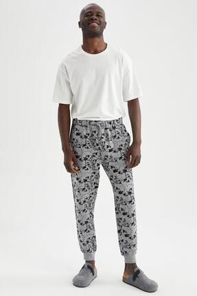 DeFacto Erkek Gri Kuru Kafa Desenli Regular Fit Pijama Altı