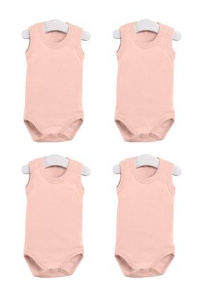 Pattaya Kids Kız Bebek Somon  Çıtçıtlı Kolsuz Body 0-36 Ay