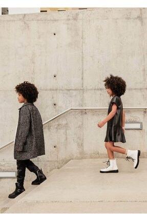 MANGO Kids Kız Çocuk Siyah Kırçıllı Mont