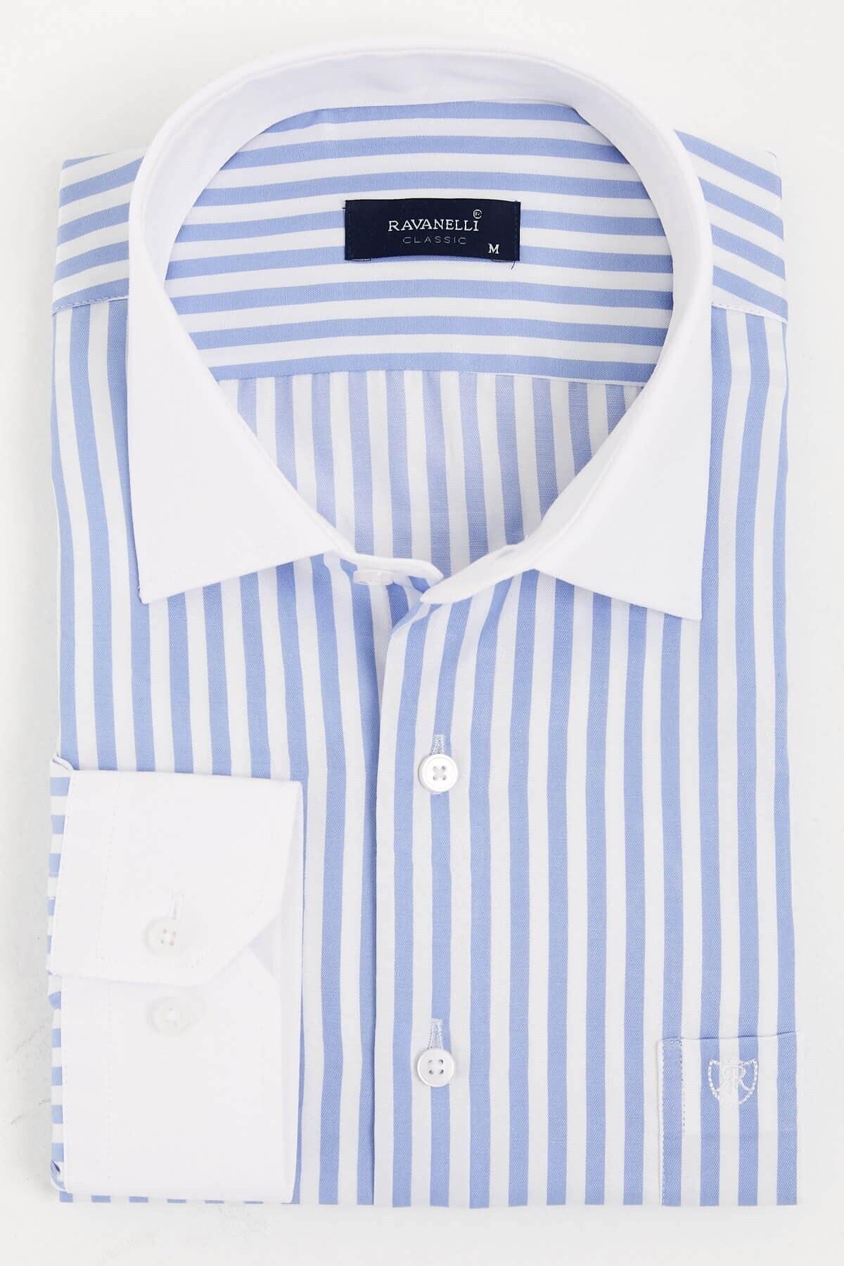RAVANELLI Beyaz Yakalı Çizgili Klasik Gömlek 1