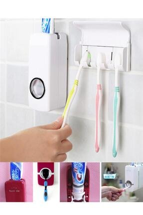 Helen's Home Otomatik Diş Macunu Sıkacağı ve 5'li Diş Fırçalığı