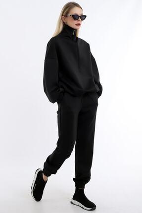 Dreamlike Kadın Siyah Yaka Uzun Fermuarlı Scuba Kumaştan Rahat Şık Ve Sportif Jogging Takım
