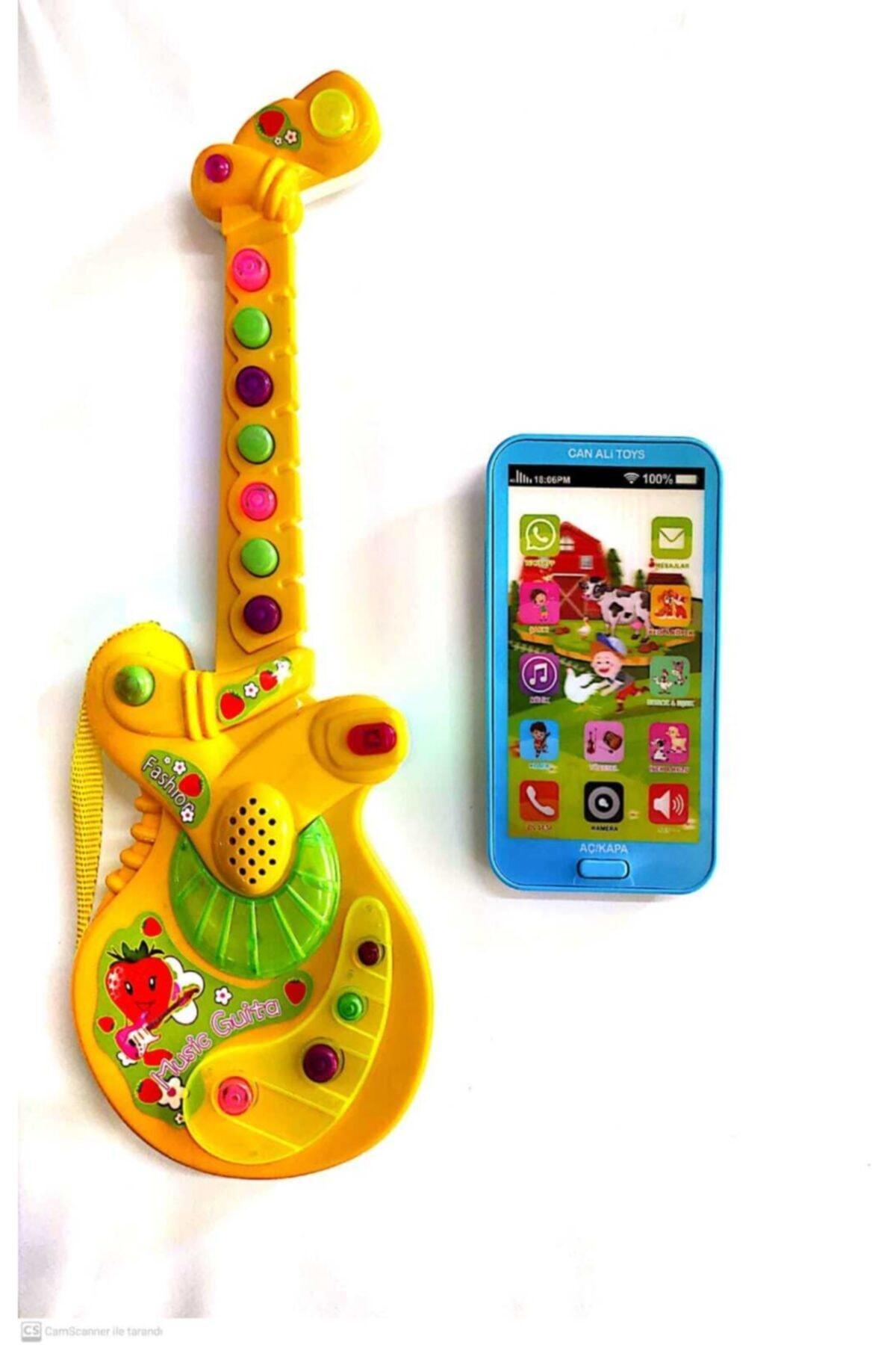 Can Ali Toys Iki Ürün Bir Arada Türçe Müzikli Pilli Gitar Ve Dokunmatik Türkçe Müzikli Ilk Telefonum 1